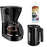 Melitta 1010-02 bk Easy Kaffeefiltermaschine -Glaskanne + Melitta 192618 Flüssigentkalker + Melitta Wasserkocher Easy Aqua