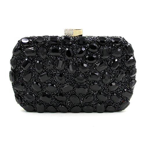 WYB Box Abendtasche / Flachseitige Diamantbohrungen heißen Handtasche / europäische und amerikanische Mode-Taschen Black