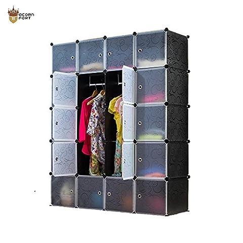 AcornFort DIY 20 Gates 4 Columns 5 Tiers Extra Deep Interlocking Wardrode Storage Cubes Shelves Organisers 147CM * 47CM *