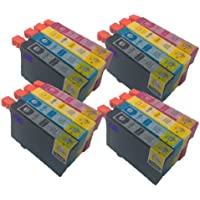 16 High Capacity Compatible Epson T1291 T1292 T1293 T1294 (T1295) Cyan / Magenta / Yellow / Black T 1295) Ink Cartridges, 4 full Set T1295 (4x T1291 4x T1292 4x T1293 4x T1294), compatible for Epson Stylus Printer SX420W SX425W SX440W SX445W SX525WD SX535WD SX620FW and Stylus Office B42WD BX305F Office BX305FW BX 305 FW Plus BX320FW BX525WD BX535W BX625FWD BX630FW BX635FWD BX925FWD BX935FW WorkForce WF-7015 WF-7515 WF-7525