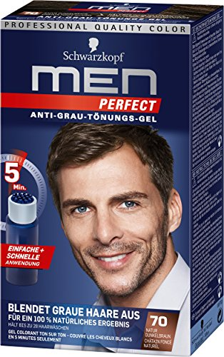 Herren Kurze Wirkung (Schwarzkopf Men Perfect Anti-Grau-Tönungs-Gel, 70 Natur Dunkelbraun, 3er Pack (3 x 80 ml))