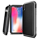 "X-Doria Defense Lux Series Case - Military Grade Drop Tested, Anodized Aluminum, TPU, and Polycarbonate Protective Case for Apple iPhone Xr , 6.1"" inch Screen, [Black Carbon]"