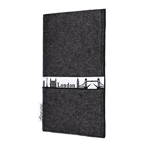 flat.design Filzhülle SKYLINE mit Webband London für Apple iPhone 4 - individuelle Handytasche aus 100% Wollfilz (anthrazit) - Case im Slim fit Design für Apple iPhone 4 anthrazit