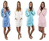Betz Bademantel Morgenmantel Saunamantel Damen mit Kapuze und Reißverschluss Farben creme, türkis, rosa und blau Größen XS - L Größe M - creme