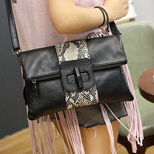 Leder - Hand Beutel Serpentine Mode Crossbody Brieftasche Umschlag Mit Großer Kapazität schwarz