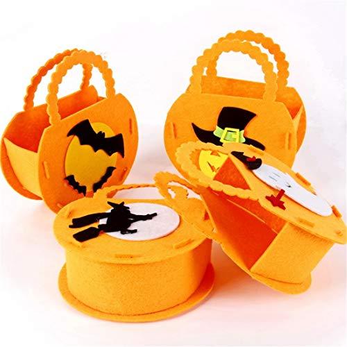 (VJUKUB Halloween Portable Non-Gewebte Stofftasche Ghost Festival Children Es Gift Candy Bag Requisiten Tasche 4 Pack)
