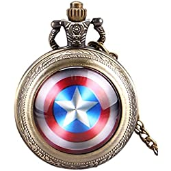 Captain America Logo Quartz Pocket Watch Necklace - Antique Bronze Effect - GIFT BOXED WITH FREE SPARE BATTERY