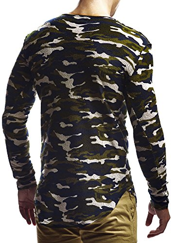 LEIF NELSON Herren Pullover Hoodie Sweatjacke Longsleeve Sweatshirt Jacke Basic Rundhals Langarm oversize Shirt Hoody Sweater LN6323 Camouflage
