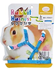 JAINSONS PET PRODUCTS Adjustable Harness with Small Bell for Rabbit; Bunny; Cat; Kitten (Blue and Pink)