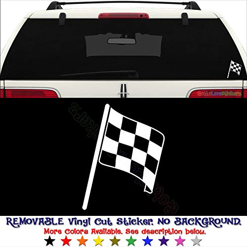 Racing Checkered Flag Nascar Indy Permanent Vinyl Decal Sticker for Laptop Tablet Helmet Windows Wall Decor Car Truck Motorcycle - Size (07 Inch / 18 cm Wide) - Color (Gloss Black) -