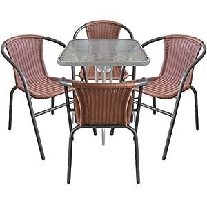 Multistore 2002 5tlg. Bistro-Set Sitzgruppe Balkonmöbel Sitzgarnitur Metall Glastisch Bistrotisch 60x60cm Silber + Metall Stapelstühle Poly-Rattan Anthrazit/Braun
