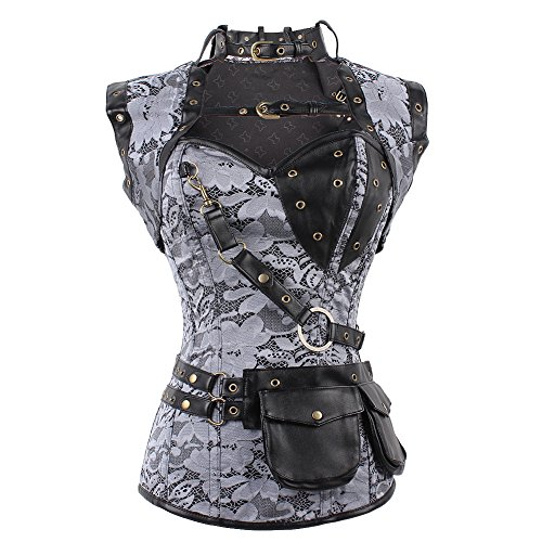 feelingirl women's cool warrior design steel boned brocade vintage steampunk bustiers corsets - 51zAaY0t2UL - FeelinGirl Women's Cool Warrior Design Steel Boned Brocade Vintage Steampunk Bustiers Corsets