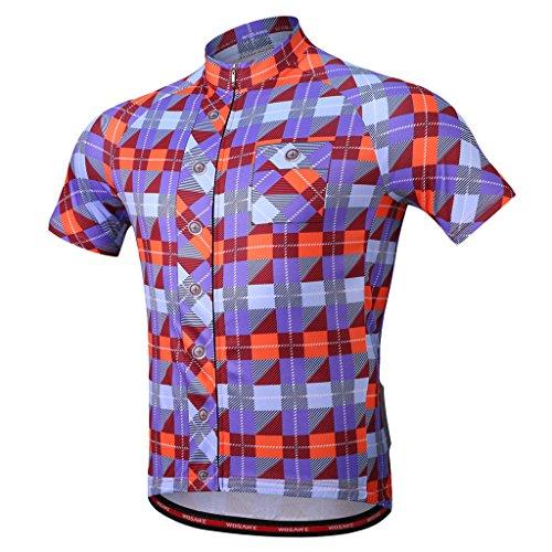 D DOLITY Atmungsaktiv Kurzarm Radtrikot Top T-Shirt Bike Bekleidung MTB Fahrradbekleidung Fahrradtriko - L Blau