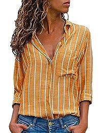 Qmber Damen Shirts Sweatshirts Pullover Tees Tops Oberteile Oversize Pulli Hoodie Elegant Hemden Langarm Blusen Tuniken, Casual Striped Druckknopf