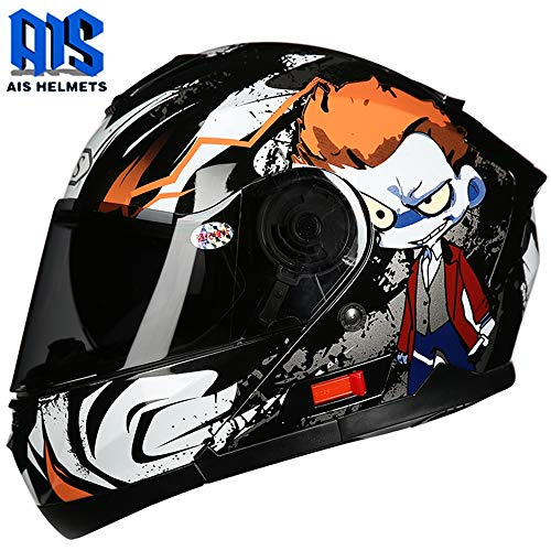 CAJUXI Casco Moto Alien Orange Hair,Casco Integrale Flip-Top per Motocicletta Kart con Visiera off-Road per Adulti A Doppia Lente,Unisex Universale Four Seasons Certificato DOT/ECE,XL:60~61cm