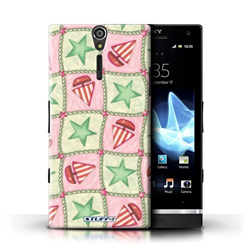 Kobalt® Imprimé Etui / Coque pour Sony Xperia S/LT26i / Violettes/Vertes conception / Série Bateaux étoiles Vert/Rouge