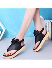 LGK & FA Sommer Damen Sandalen Sommer Zehentrenner Hausschuhe flach Zehen Strand Schuhe Student Schuhe 46 schwarz kww08TG0