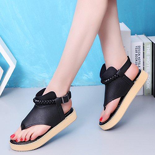 Lgk & fa estate sandali da donna estate dita dei piedi sandali pantofole piatto spiaggia scarpe studente scarpe Black