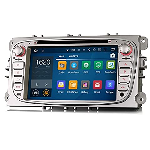 Erisin 7 Inch Car Stereo Android 5.1 Lollipop Car Radio with Sat Nav Head Unit for Ford Focus Mondeo S-Max C-Max Galaxy Car Multimedia DVD Player GPS Support WiFi 3G Bluetooth