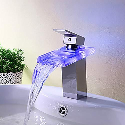 Durable Wasserhahn Bad Waschtischarmatur Bunte Kreativ Moderne LED Wasserfall Einloch/Einfache Griff Ein Wasserhahn/Messing praktisch - Delta-badewanne-griffe