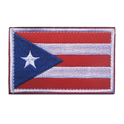 topaaa South America Flagge Military bestickt Tactical Klett Patch Moral Schulter Aufnäher 2 X 3 Inch Puerto Rico Hut Puerto Rico