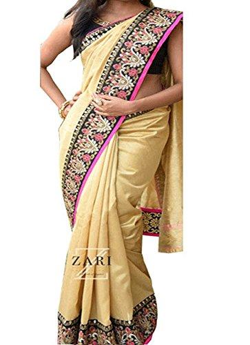 Pramukh Enterprise Women's Nylon Silk Saree (Krnx-82_Beige)