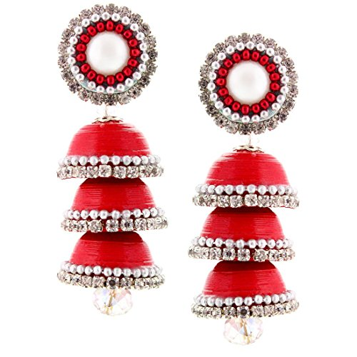 Halowishes Traditional Handcrafted Paper Quilling Triple Jhumka - 242  available at amazon for Rs.309