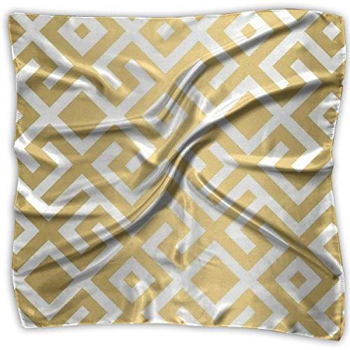 xiadayu Multi-Colors Design Square Satin Womens Neck Head Scarf Scarves Geometric Gold Bars Printed Satin Square Neck