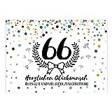 Große XXL Design Glückwunsch-Karte zum 66. Geburtstag mit Umschlag/DIN A4/Buntes Konfetti/Schnaps-Zahl/Grußkarte