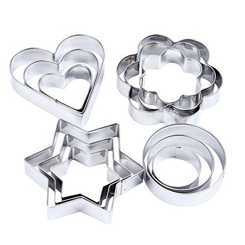 Latinaric Metall Backformen Ausstechformen Küchenutensilienset Torten Schokolade Stern Herz (Metall-ausstechformen Sterne)