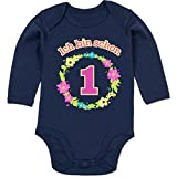 Shirtracer Geburtstag Baby - Ich Bin Schon 1 Blumenkranz - 6-12 Monate - Navy Blau - BZ30 - Baby Body Langarm