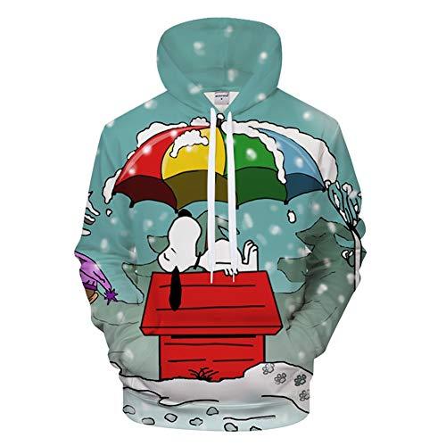 (RJHWY 3D Hoodie Sweatshirt Unisex Pullover Kapuzenjacke Kleidung Snoopy Mantel XXXL)