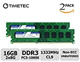 Timetec Hynix IC 6GB Kit (2x8GB) DDR3 PC3-12800 Non ECC Unbuffered 1.35V/1.5V Dual Rank 240 Pin UDIMM Desktop PC Computer Memory Ram Module Upgrade (16GB Kit (2*8GB), 1333MHz)