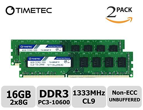 Timetec Hynix IC 16GB Kit (2x8GB) DDR3 1333MHz PC3-10600 Unbuffered Non-ECC 1.5V CL9 2Rx8 Dual Rank 240 Pin UDIMM Desktop Arbeitsspeicher Module Upgrade (16GB Kit (2x8GB))