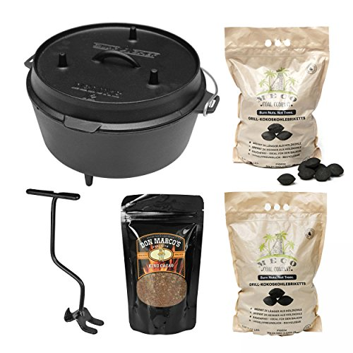 camp chef KS0861 Camp Chef Deluxe Dutch Oven DO-12 + MECO Grill-Kokoskohlebriketts 2er-Pack + Rub King Cacao