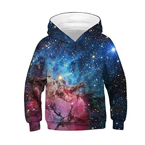 sunnymi 4-13 Jahre Sweatshirt Teen Kinder Mädchen Jungen Galaxy Fleece Cartoon Tasche Pullover Hoodie