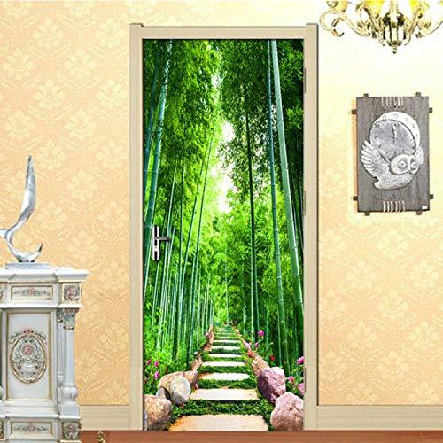 LMYWSX Türsticker Green Bamboo Forest Road 3D Durch Aufkleber Wasserdicht Selbstklebende Entfernbare Tapete Vinyl Schlafzimmer Wohnzimmer Dekoration 90 * 200Cm