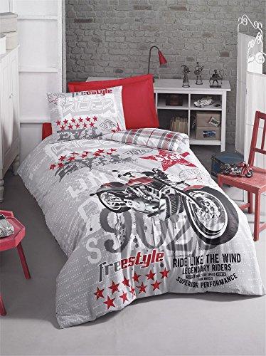 LaModaHome 3PCS Luxus Ranforce Young, Steppdecke, Set/100% Baumwolle Weich Entspannende Bequem Muster Design Motorrad Boy Young Bett Bettlaken (Tröster Blau Twin Set Boys)