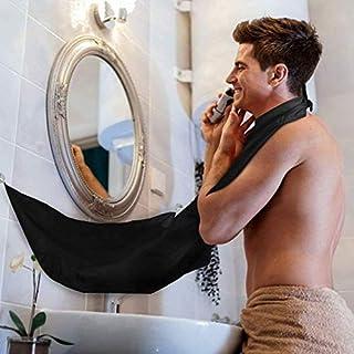 Beard Bib Rasur Grooming Schürze Gesichts-Trimmings Bart Catcher mit Saugnäpfe, Wasserdicht, zusammenklappbar, mit Umhang, elegante Bart (Schwarz)