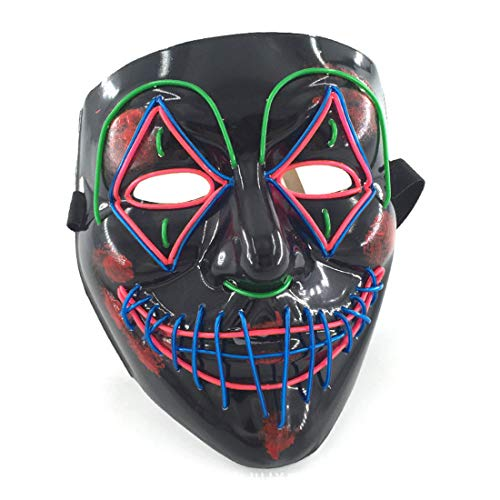 GRYY Leuchtende Maske EL Kaltlicht Halloween Scared Black Bloody Horror Maske LED Party Party Maske Cosplay Karneval Geschenk Festival,Black-Voice Control (Daft Punk Kostüme Für Kinder)