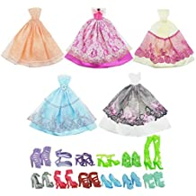 ASIV 5 x vestidos de moda, 12 pares de zapatos de ropa accesorios para muñecas Barbie, estilo al azar