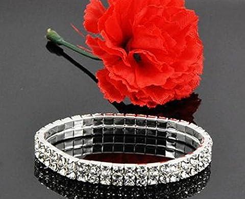 Honeysuck 2rangées Strass Cristal mariée stretch Cuff Bracelets Bracelet