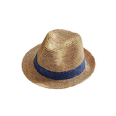 Stroh Jazz Trilby Hüte Rollhut Herren Damen Band Häkeln Im Freien Strand Frühling Sommer Sonnenhut Blau