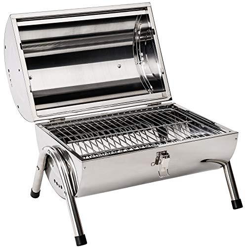 TecTake Edelstahl BBQ Grill mit großer Doppelgrillfläche Holzkohlegrill Grilltonne Silber