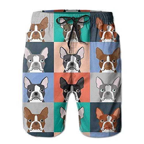 Boston Terriers Tile Bulldaog Pattern Men's/Boys Casual Swim Trunks Short Elastic Waist Beach Pants with Pockets XX-Large