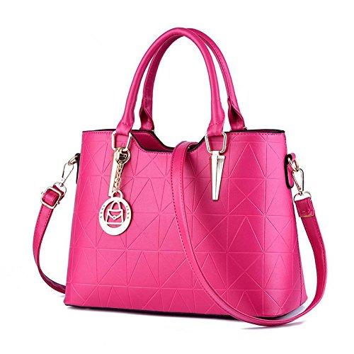 LDMB Damen-handtaschen Süße Dame atmosphärischen Mode PU Leder Frauen Schulter Handtasche Messenger rose red