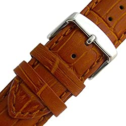 Super-Long XXL Padded Croc Grain Genuine Leather Watch Strap band 24mm Tan Chrome (Silver Colour) Buckle