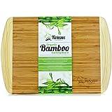 Planche à découper Extra Large - 100% Bambou Bio - N'abîme pas vos couteaux de chef - Utilisable aussi comme Plateau à fromage - Design élégant pour épater vos invités