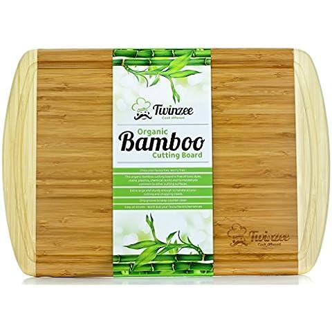 #1 Tabla de cortar de bambú ecológico EXTRA GRANDE – La mejor tabla de cortar con surco para la cocina
