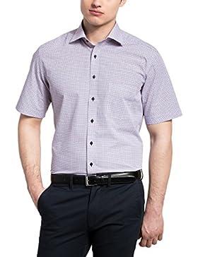 Eterna Herren Kurzarmhemd Modern Fit Print blau / rot / weiß 8961 C187 18